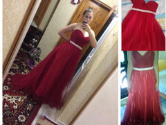 Burgundy Floor-Length Prom Dress A-line Rhinestone Sweetheart Evening Gown