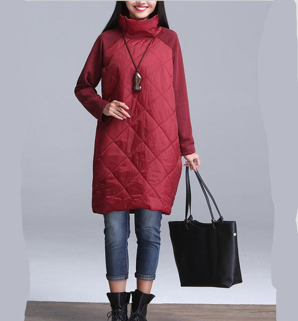 Plus Size Women Warm Winter Patchwork Turtleneck Out Wear Coats
