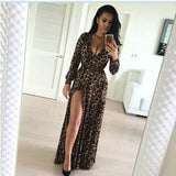 Sexy Leopard Print V-Neck Slit Long Sleeve Long Maxi Dress