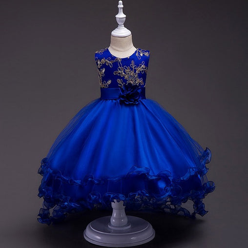 Blue Flower Girl Dresses Sleeveless Princess Children Wedding Trailing Party Prom Dress