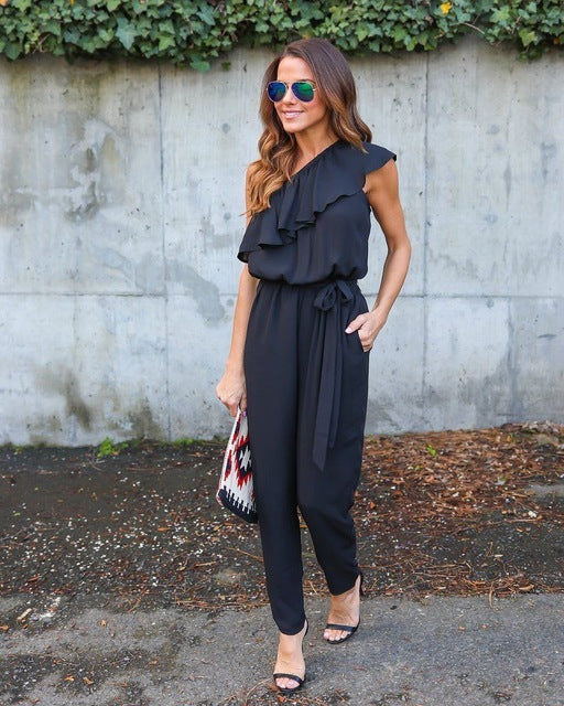 Summer One Shoulder Ruffles Jumpsuit Trousers