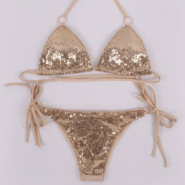 Sequins Halter Metal Bikini Set Swimsuit Two Piece Triangle Swimwear Bathing Suits For Women