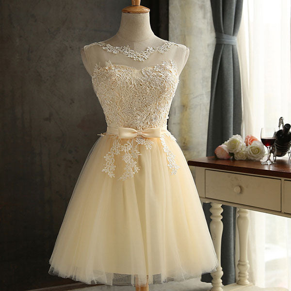 Short Prom Dresses Bow-Front Lace Stitching Mesh Backless Lace-Up Party Gown Formal Homecoming Graduation Dresses 2018