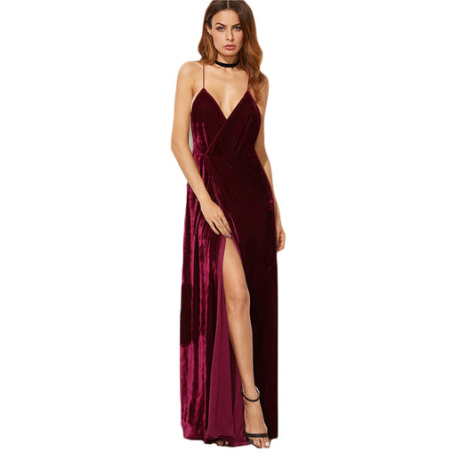 Burgundy Velvet Maxi Backless Dress Party Dress Deep V Neck Long Elegant Dress
