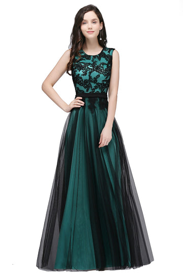 Lace Sexy Sleeves Long Tulle Evening Party Dresses