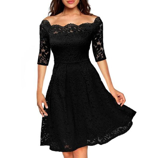 Elegant Womens Wedding Party Off the Shoulder Half Sleeve Floral Midi Lace Dress