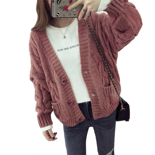 Spring Sweater Cardigan Female Twist Loose Sweater Thick Full Sleeve Single Breasted with Pocket