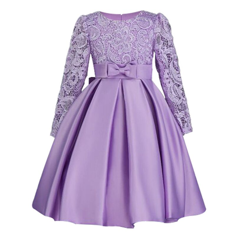 Elegant Flower Girl Dresses Long Sleeve Silk Lace Christmas Clothes Wedding Party Dress 2018