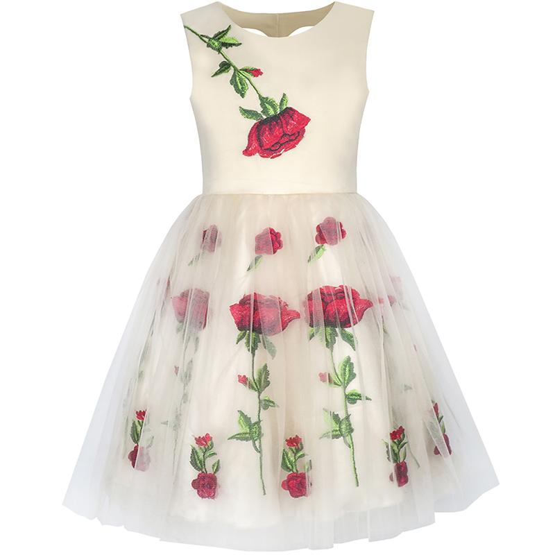 550d55fd2495 Summer Flower Girl Dress Champagne Rose Flower Embroidery Princess Fashion  Wedding Party Dresses