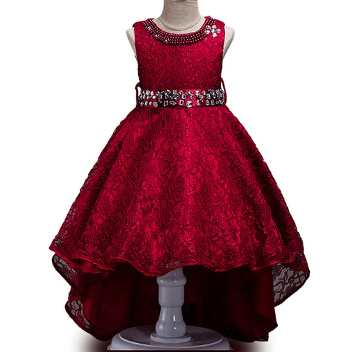 Flower Girl Dresses Trailing Wedding Party Girl Beading  Lace Princess Long Tutu Dress
