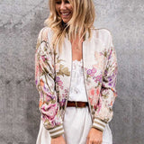 Woman Fashion Spring Autumn Vintage Floral Printed Bomber Jackets