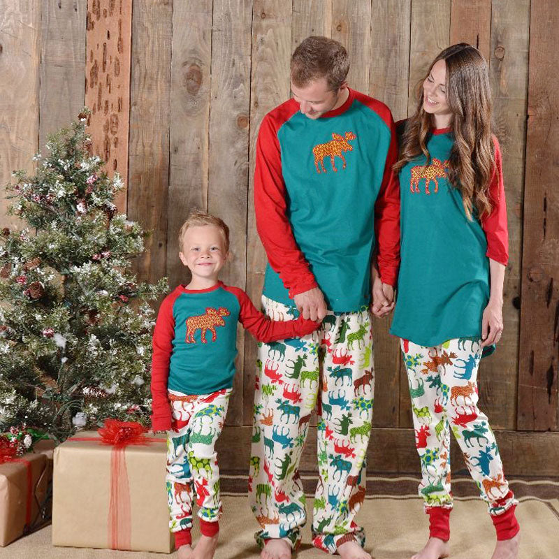 Family Christmas Pajamas 2017 Elk Matching outfits Patchwork Long Sleeve Mama mom