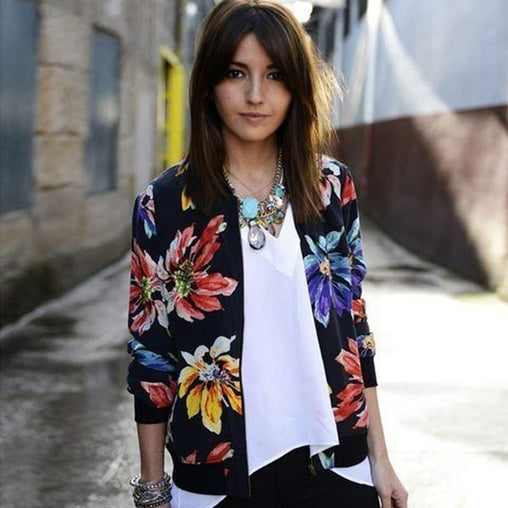 Trendy Retro Women Flower Printed Casual Baseball Bomber Jacket