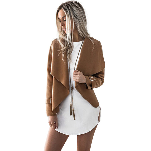 Women Fashion Cardigan Open Stitch Turn-down Collar Jacket Outwear