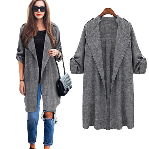 New Fashion Autumn Spring Women Open Front Long Cloak Cardigan Coats