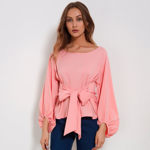 Pink Long Lantern Sleeves O-Neck Wrapped Chiffon Blouse With Bow