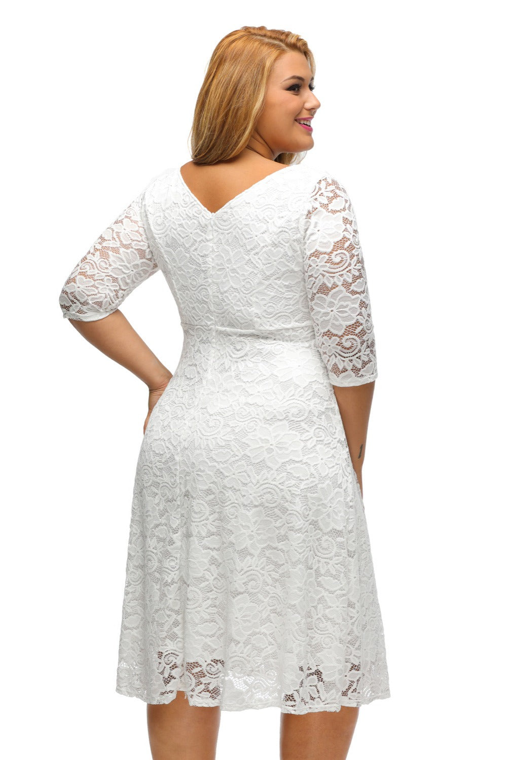 White Black Summer Elegant Floral Lace Half Sleeve Fit and Flare Curvy Midi  Plus Size Dress