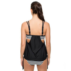 Striped Swimsuit Tankinis Bandage Patchwork Two Piece Bikinis Set Push Up Strappy Bathing Suit