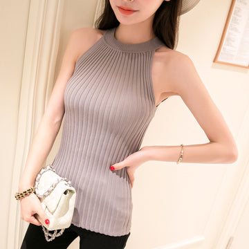 New Fashion Spring Summer Women Sweater Tanks Slim Halter Neck Sexy Pullovers