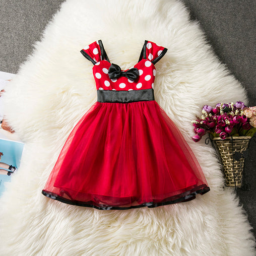 Cute Summer Dresses Bow Polka Dots Pattern Printed Stitching Mesh Short Sleeves Birthday Party Dress for Girls