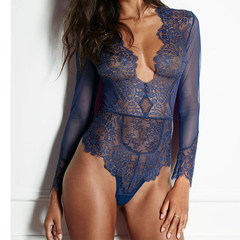 bef74be4c6 Sexy Deep V Neck Plus Size Lace Bodysuit Mesh See Through Long Sleeve  Bodysuit Plus Size