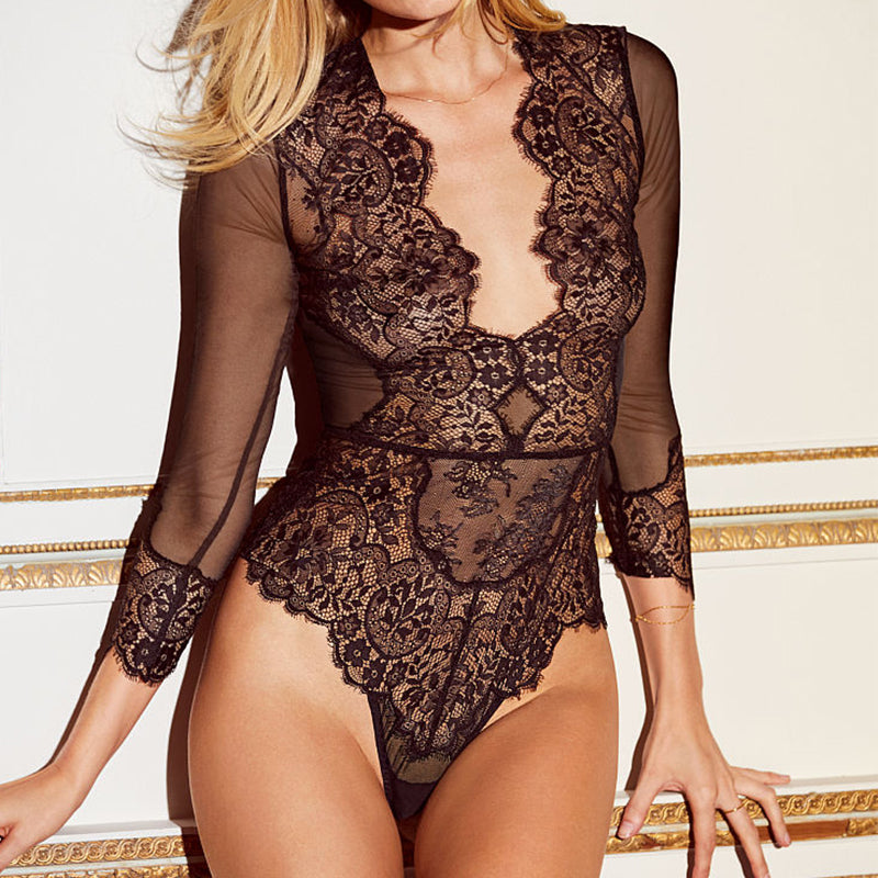 Sexy Deep V Neck Plus Size Lace Bodysuit Mesh See Through Long Sleeve Bodysuit Plus Size