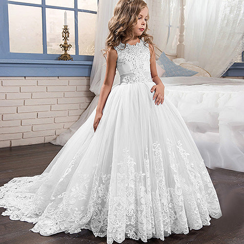 Flower Girl Dresses With Bow Beaded Crystal Lace Up Applique Ball Gown Customized Dress