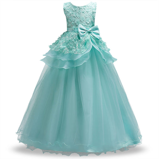 Flower Girls Dress Long Lace Party Kids Formal Prom Dress For Wedding