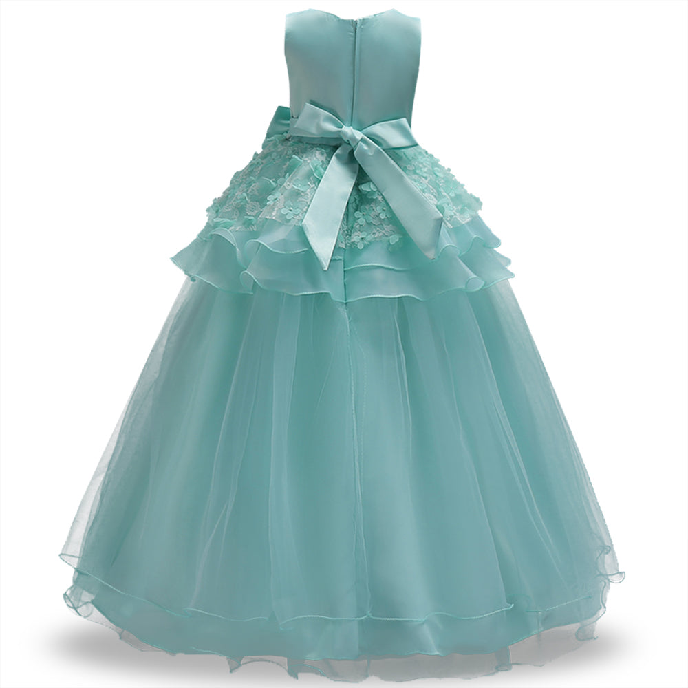 Flower Girls Dress Long Lace Party Kids Formal Prom Dress For ...