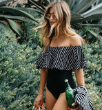 Swimsuit 2018 Black Off The Shoulder One Piece Swimwear Women Padded Ruffle Bathing Suits