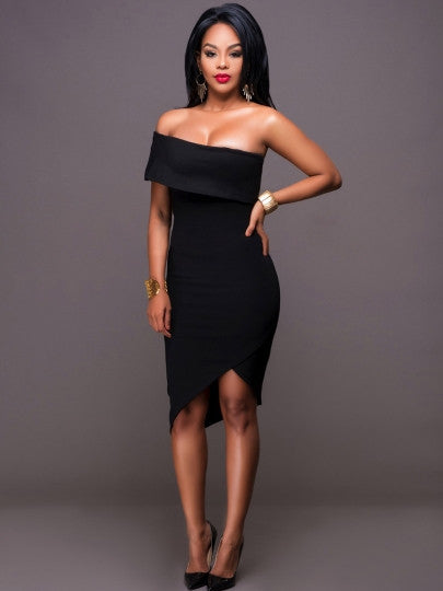 Black Slash Neck Women's New Years Party Dress