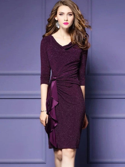 3/4 Sleeve Sequins Women's Sheath New Years Party Dress