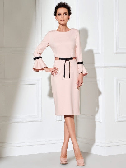 Long Sleeve Bowknot Women's Sheath New Years EVE Dress