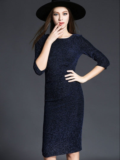 Blue Half Sleeve Sequins Women's Sheath New Years EVE Dress