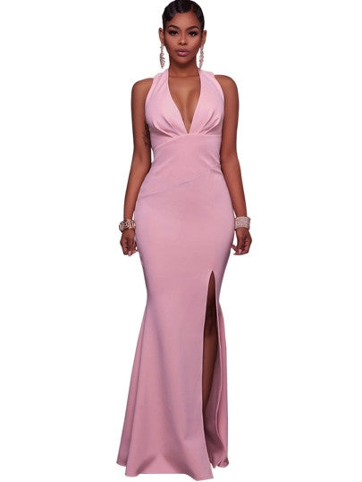 Pink V Neck Split Women's Maxi New Years EVE Dress