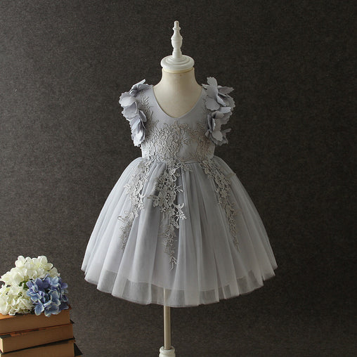 Gray Pink Flower Girl Desses Party Wedding Kids Lace Mesh Dress