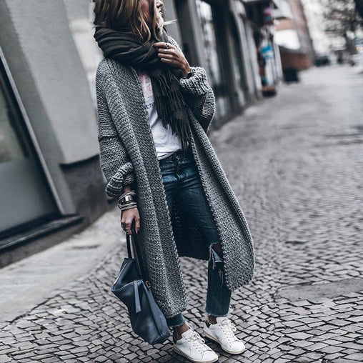 2018 Woman Fashion Batwing Sleeve Long Sweater Loose Knitting Autumn Cardigans