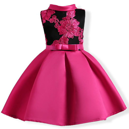 Flower Girl Dresses Embroidery Silk Princess Wedding Party Kids Dress Children Fashion Clothing