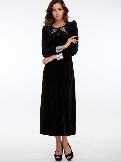 Long Sleeve Sequins Women's Maxi Dress