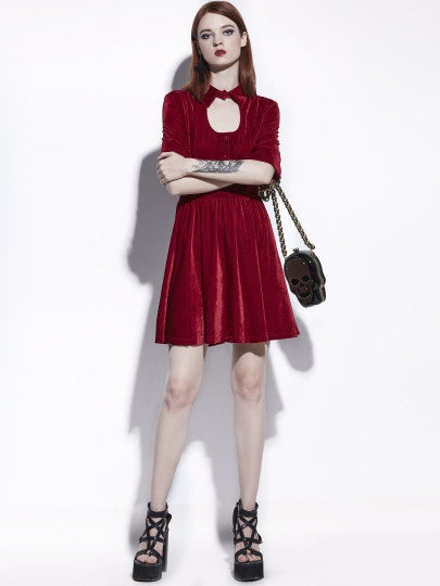 Half Sleeve Red Velvet Women's New Years Party Dress