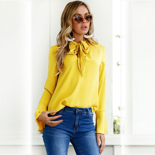 Summer Elegant Long Flare Sleeves Chiffon Blouse with Bow