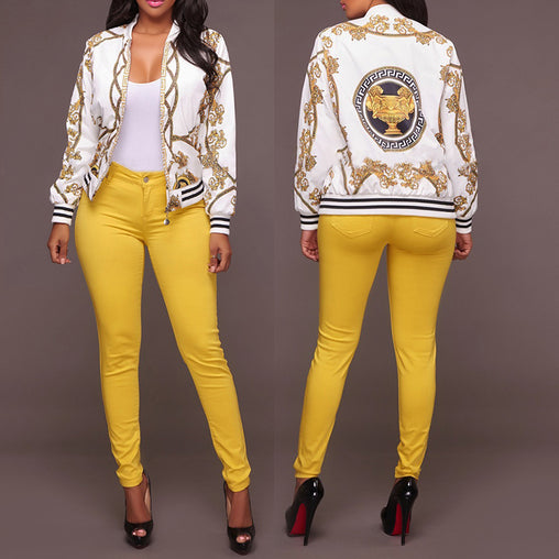 Woman New Autumn Spring Gold Chain Printed Retro Baseball Bomber Jackets