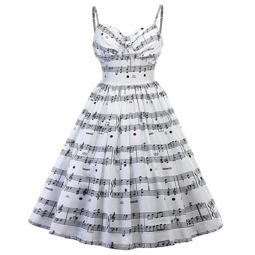 Vintage Dress Music Note Print Strap V Neck Sleeveless Hepburn Style Swing Party Dress