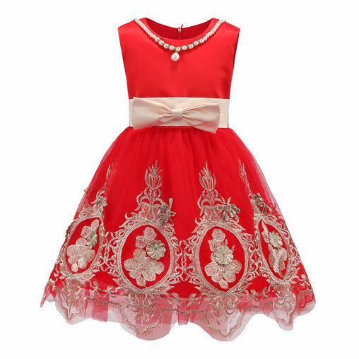 Cute Flower Girl Dresses for Wedding Sleeveless Bow Lace Embroidery Summer Party Dress