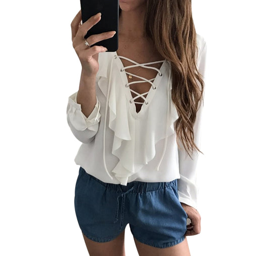 Lace Up V Neck Long Sleeves Ruffled Chiffon Blouse