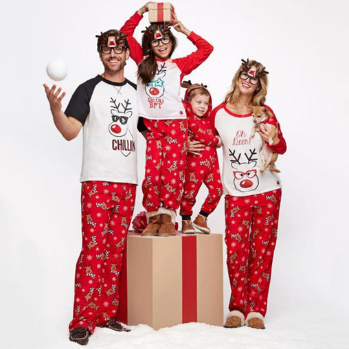 Family Christmas Pattern Dog Printing Sleepwear set Red Pants Cute Dad Mom Kid Comfortable Nightwear