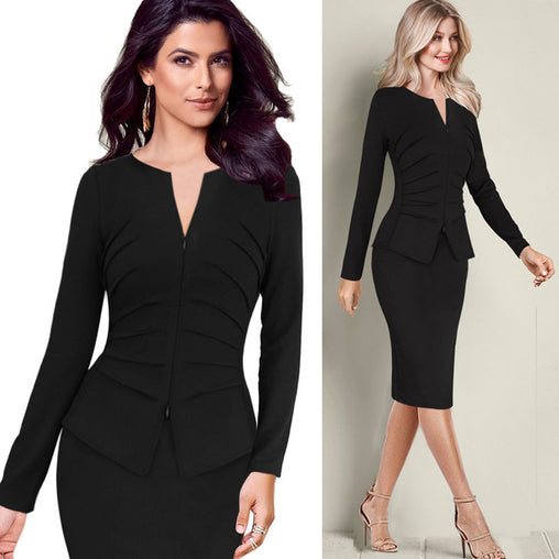 Elegant Front Zip Up Pleated Ruched Long Sleeves Business Party Sheath Work Peplum Dresses