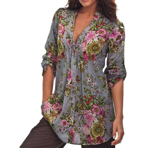 Grey Plus Size Floral Print Long Sleeve V-neck Blouse