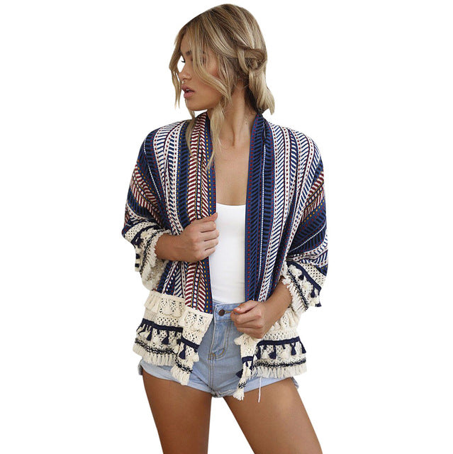 Woman Floral Printed Loose Shawl Kimono Cardigan Fashion Boho  Outwear Jackets