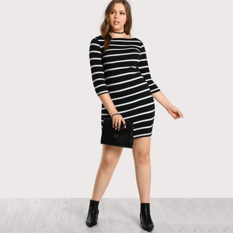 Plus Size Three Quarter Sleeves Dress Black And White Striped Short
